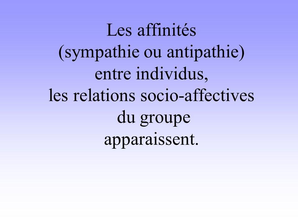 Les affinités (sympathie ou antipathie) entre individus, les relations socio-affectives du groupe apparaissent.