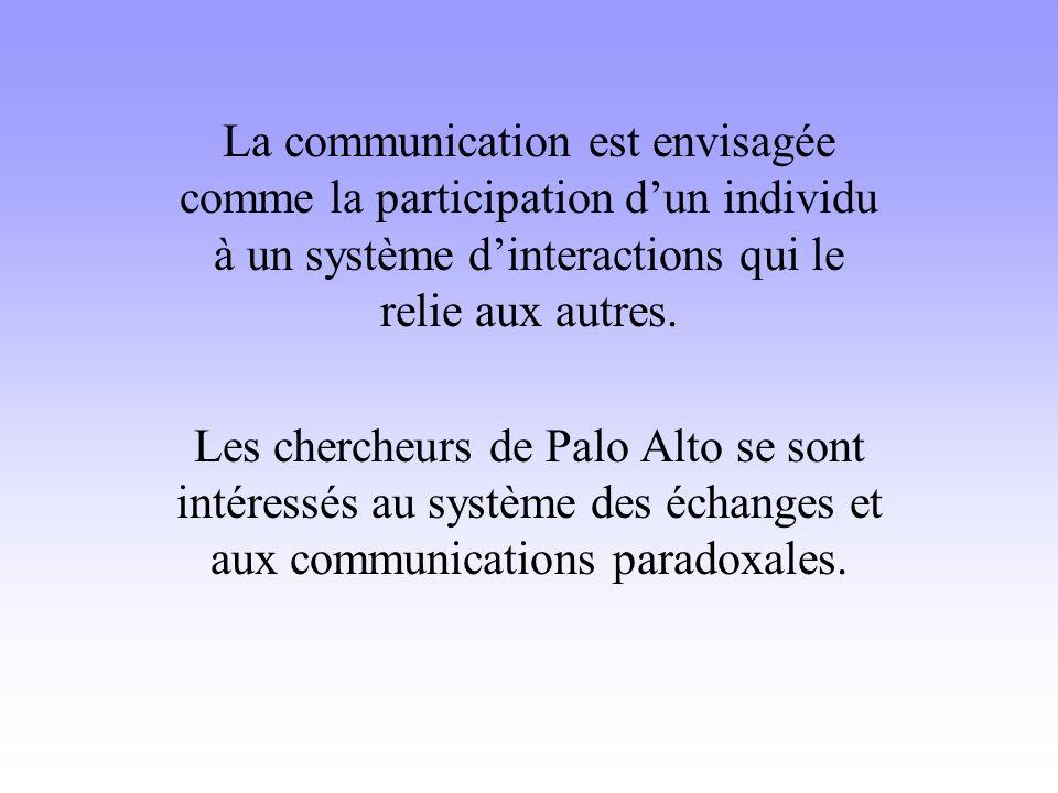La communication est envisagée comme la participation d'un individu à un système d'interactions qui le relie aux autres.