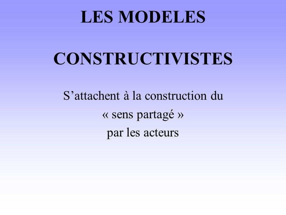 LES MODELES CONSTRUCTIVISTES