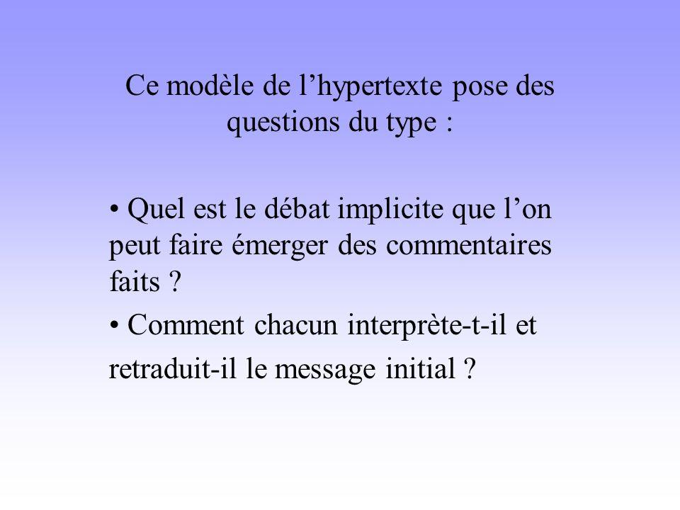 Ce modèle de l'hypertexte pose des questions du type :