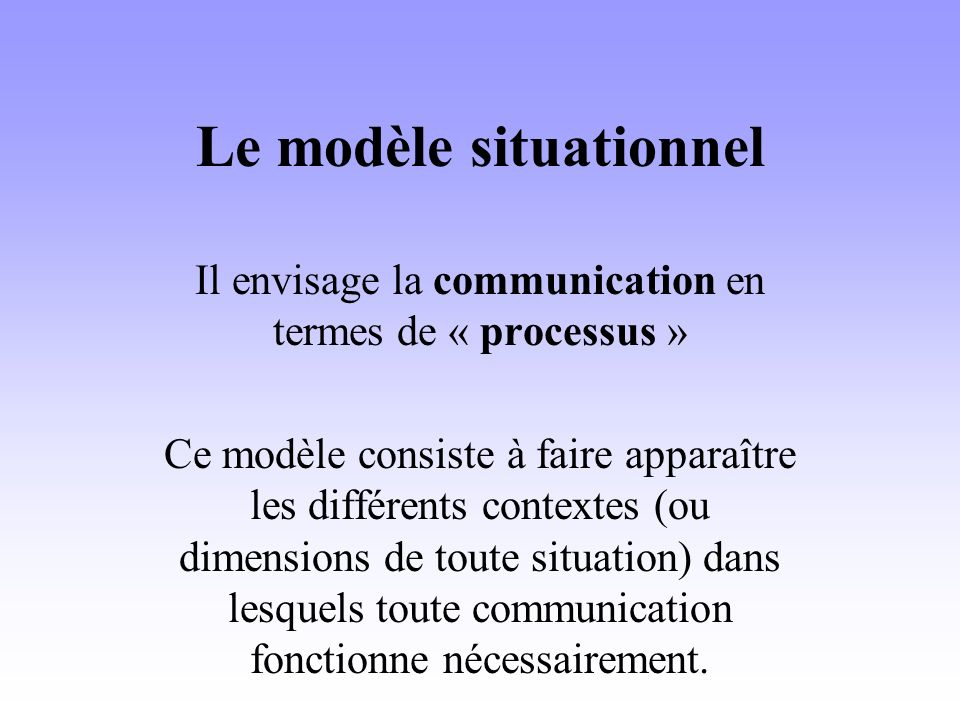 Le modèle situationnel