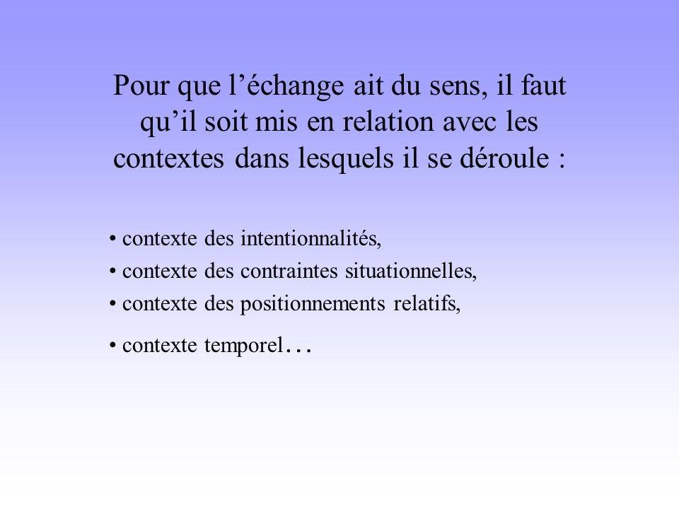 Pour que l'échange ait du sens, il faut qu'il soit mis en relation avec les contextes dans lesquels il se déroule :