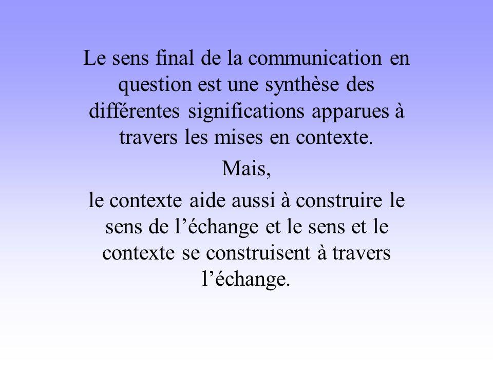 Le sens final de la communication en question est une synthèse des différentes significations apparues à travers les mises en contexte.