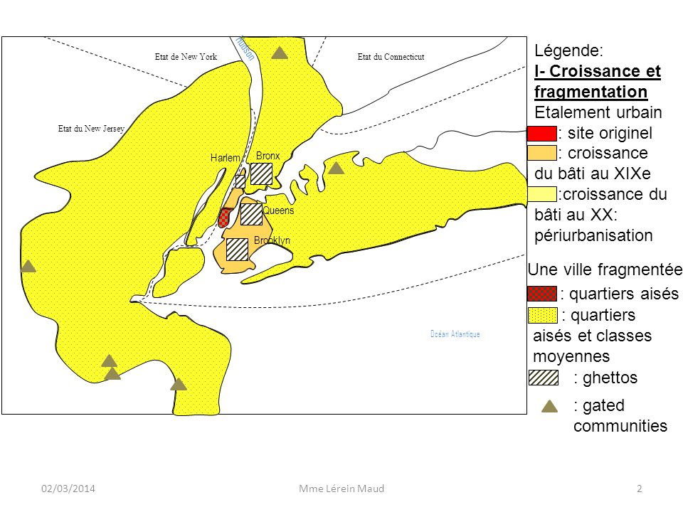 I- Croissance et fragmentation Etalement urbain : site originel
