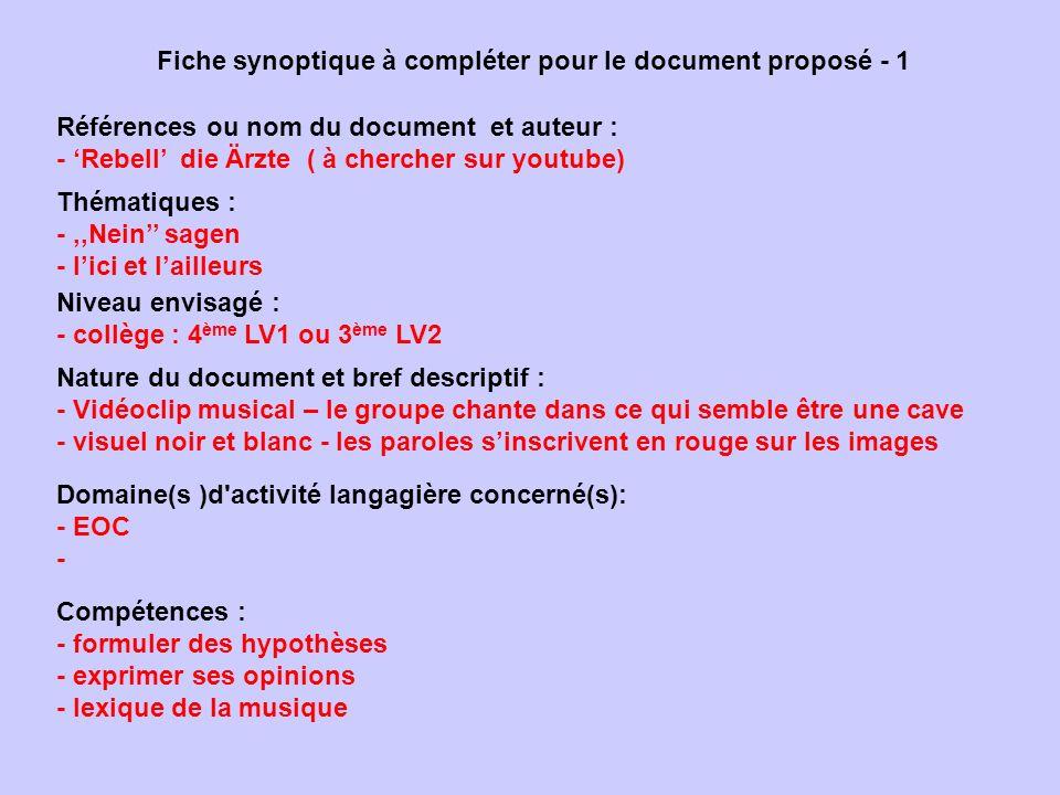 Fiche synoptique à compléter pour le document proposé - 1