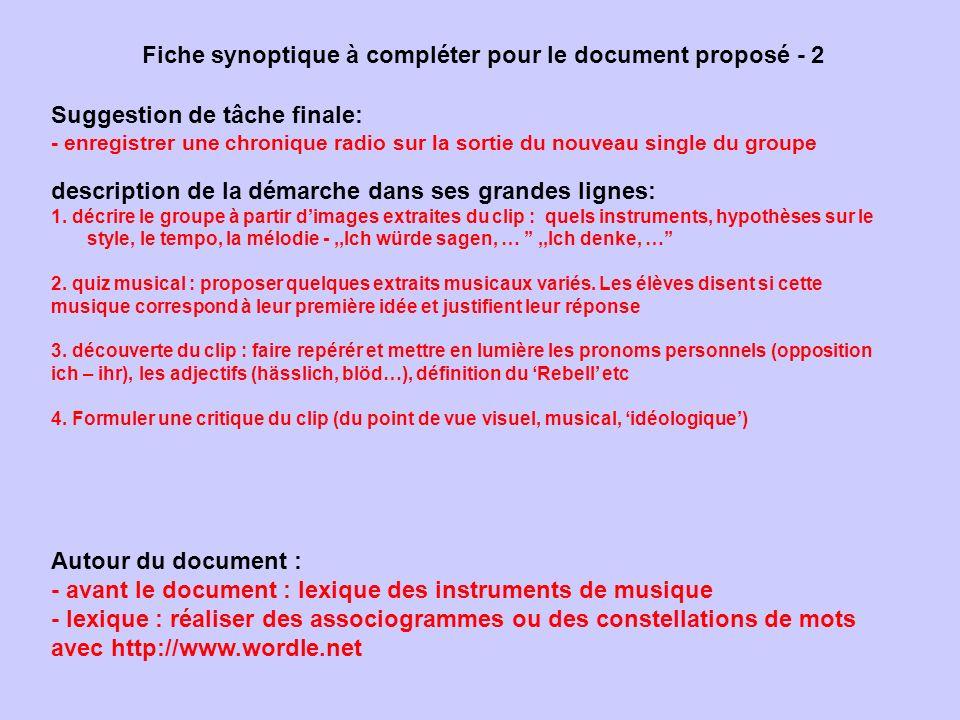 Fiche synoptique à compléter pour le document proposé - 2