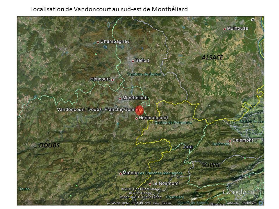 Localisation de Vandoncourt au sud-est de Montbéliard