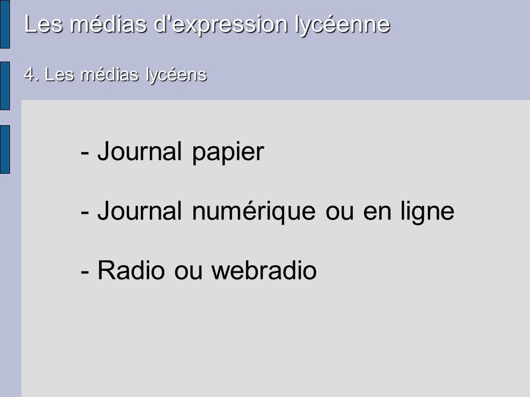 - Journal numérique ou en ligne - Radio ou webradio