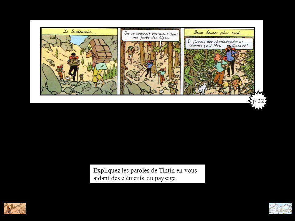 p 22 Expliquez les paroles de Tintin en vous aidant des éléments du paysage.