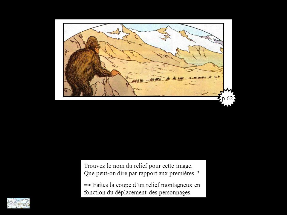 p 62 Trouvez le nom du relief pour cette image. Que peut-on dire par rapport aux premières