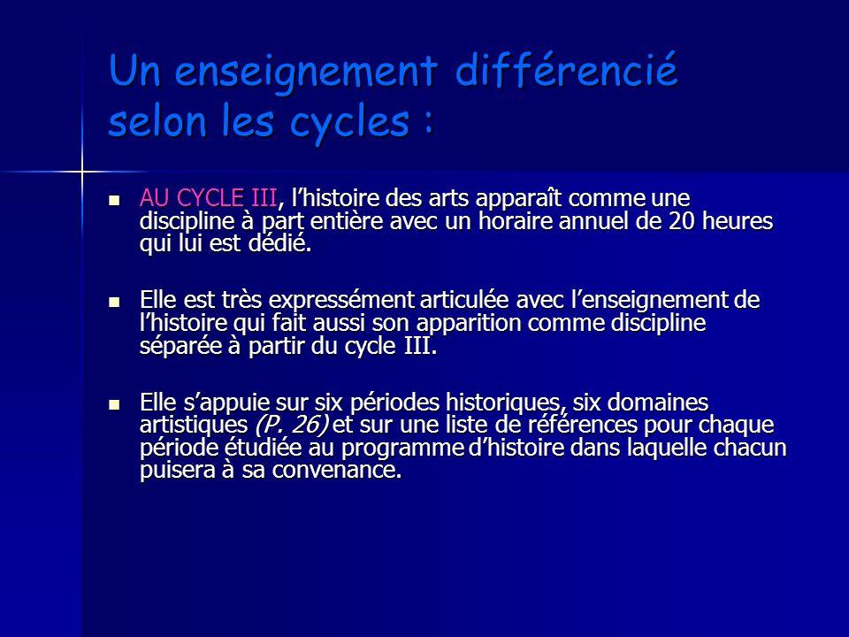 Un enseignement différencié selon les cycles :