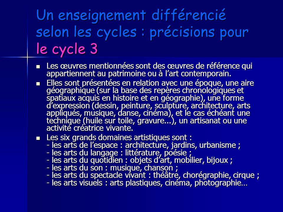 Un enseignement différencié selon les cycles : précisions pour le cycle 3