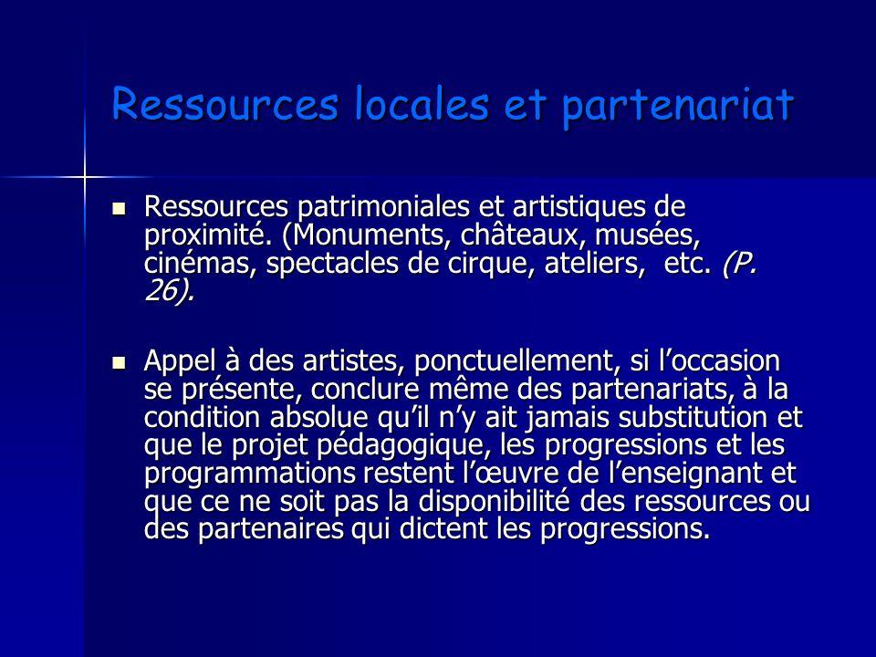 Ressources locales et partenariat