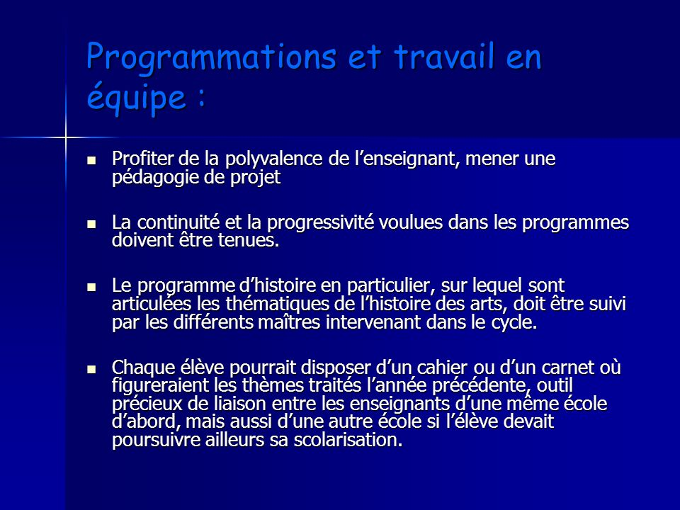Programmations et travail en équipe :