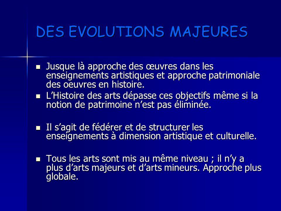 DES EVOLUTIONS MAJEURES