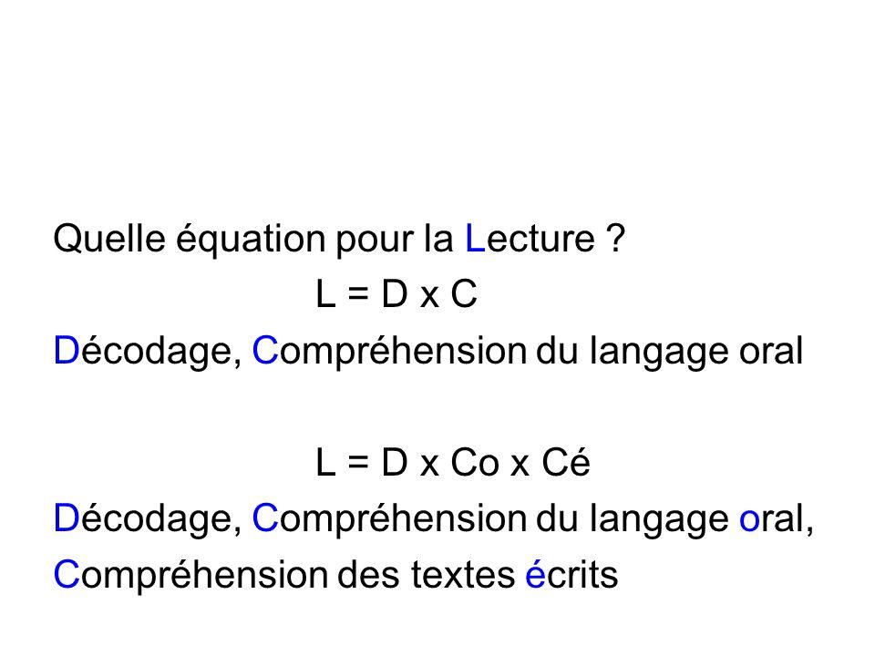 Quelle équation pour la Lecture