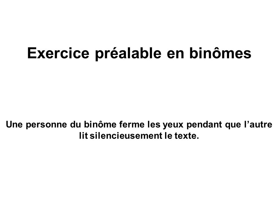 Exercice préalable en binômes