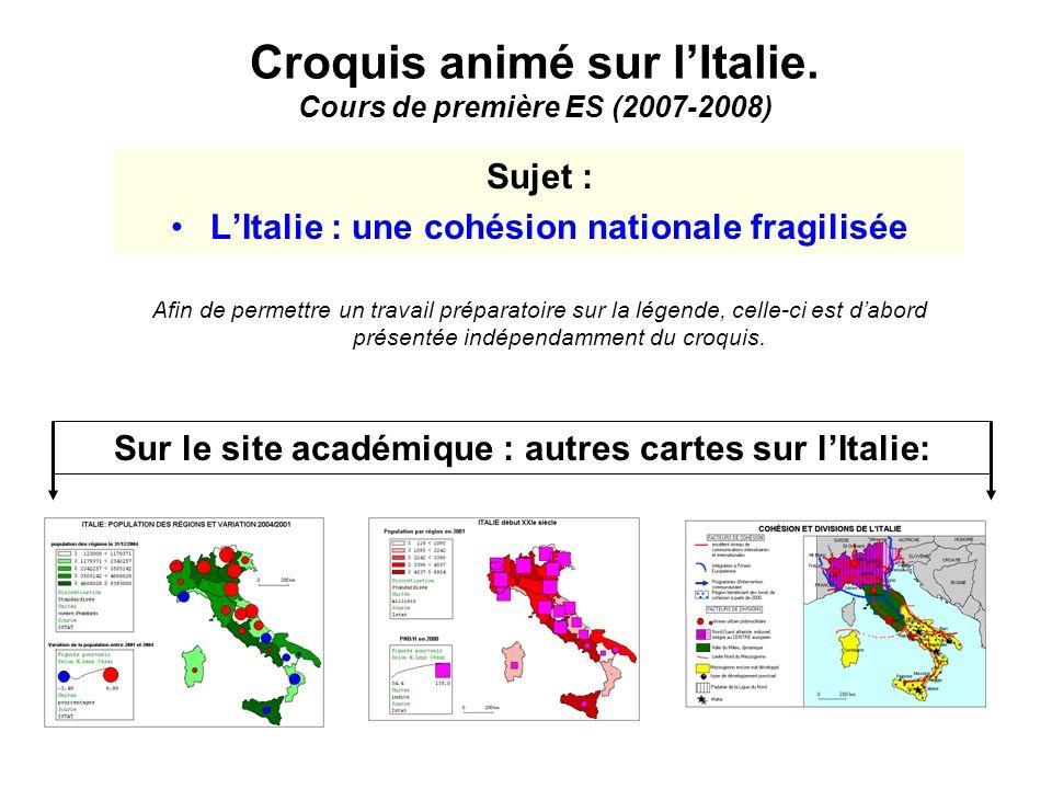 Croquis animé sur l'Italie. Cours de première ES (2007-2008)