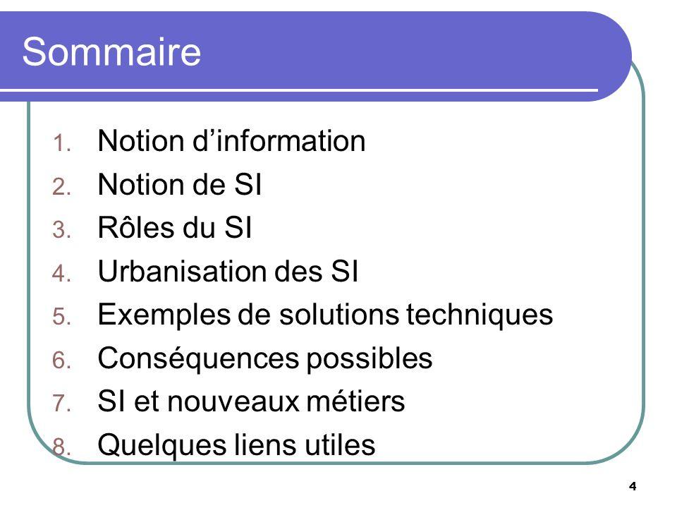 Sommaire Notion d'information Notion de SI Rôles du SI