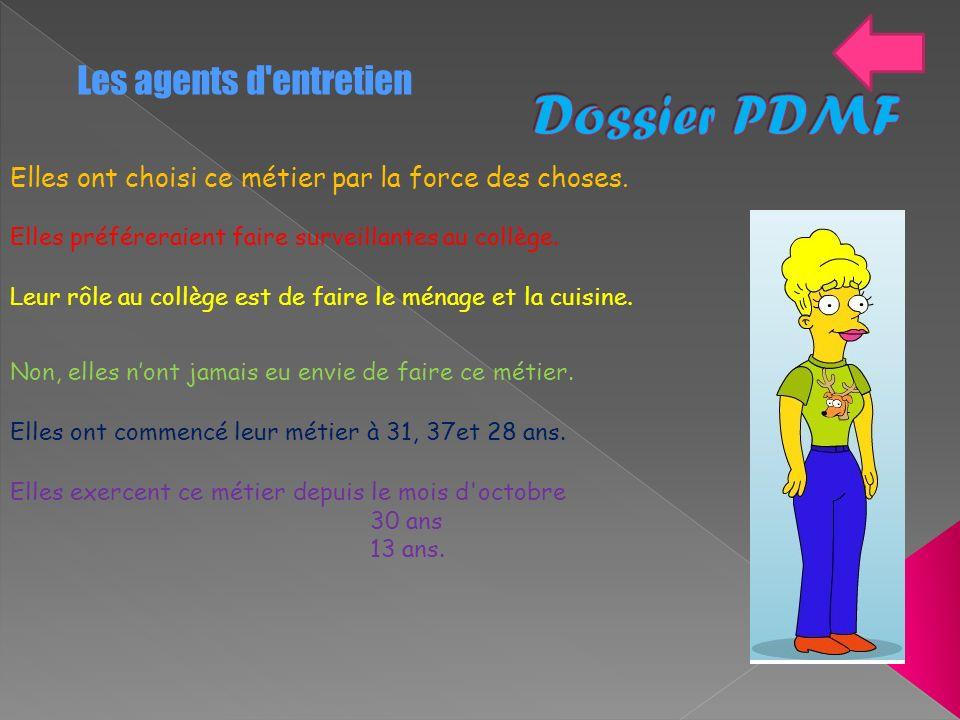 Dossier PDMF Les agents d entretien