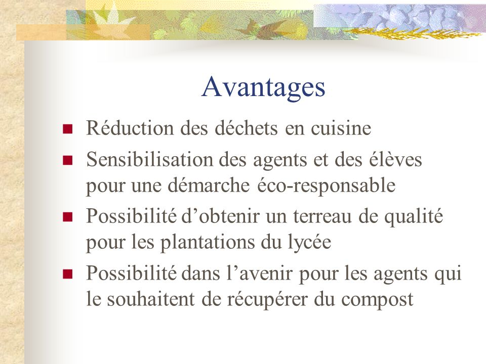 Avantages Réduction des déchets en cuisine