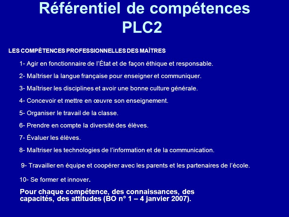Référentiel de compétences PLC2