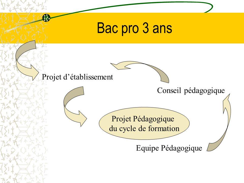 Bac pro 3 ans Projet d'établissement Conseil pédagogique