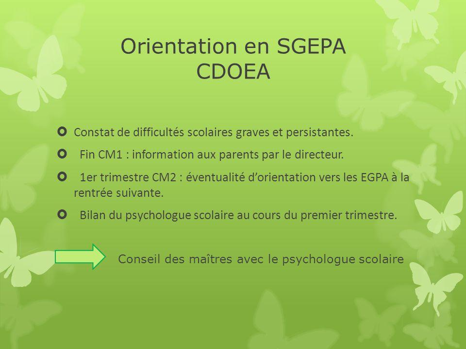 Orientation en SGEPA CDOEA