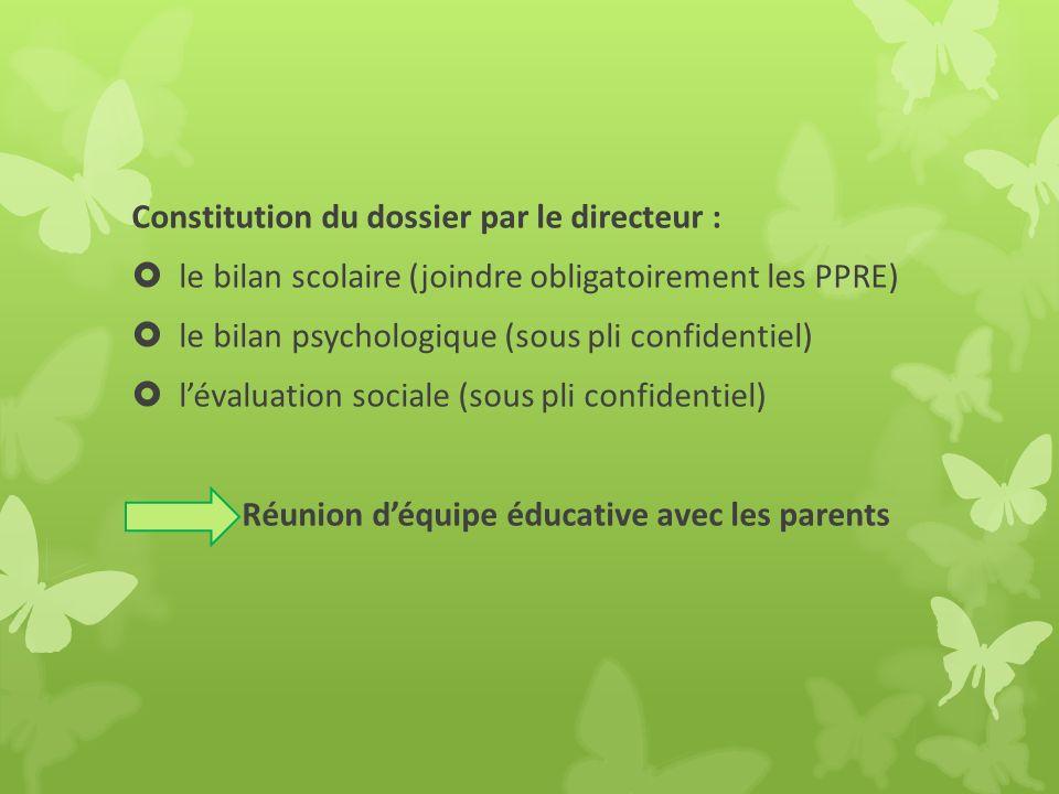 Constitution du dossier par le directeur :