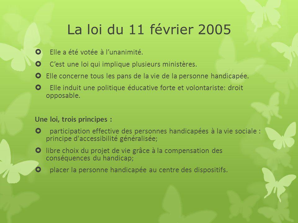 La loi du 11 février 2005 Elle a été votée à l'unanimité.