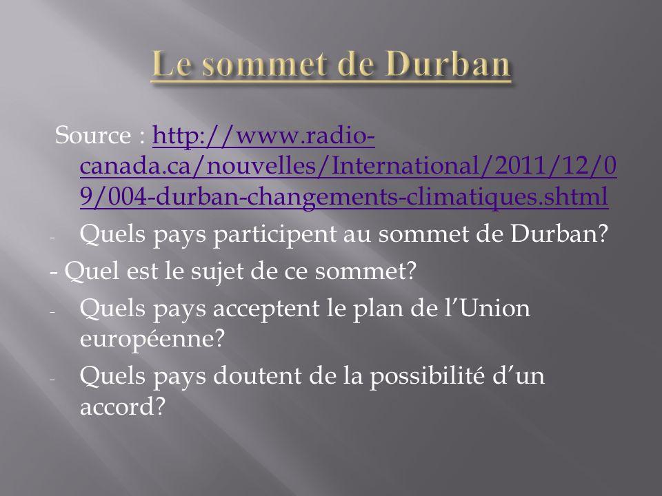Le sommet de DurbanSource : http://www.radio-canada.ca/nouvelles/International/2011/12/09/004-durban-changements-climatiques.shtml.