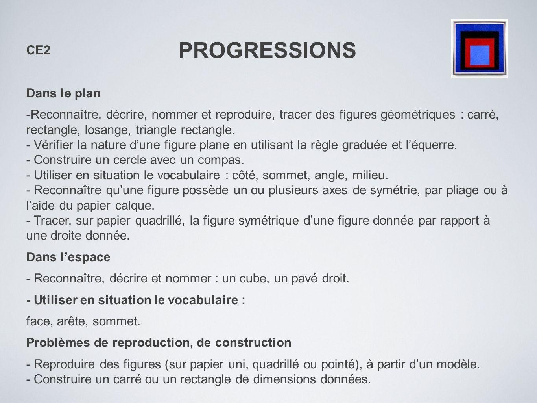 PROGRESSIONS CE2 Dans le plan