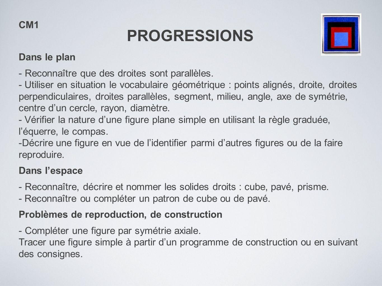 PROGRESSIONS CM1 Dans le plan