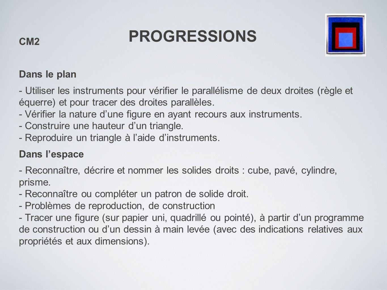 PROGRESSIONS CM2 Dans le plan