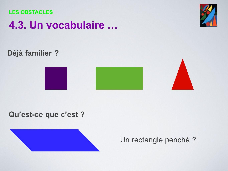 4.3. Un vocabulaire … Déjà familier Qu'est-ce que c'est