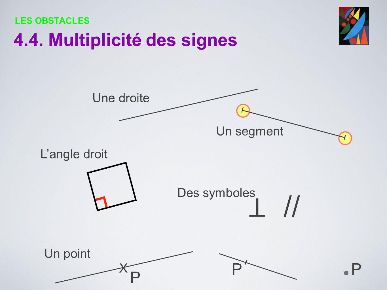 ⊥ // 4.4. Multiplicité des signes P X Une droite Un segment