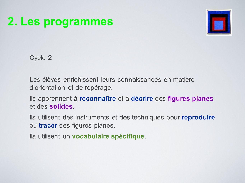 2. Les programmesCycle 2. Les élèves enrichissent leurs connaissances en matière d'orientation et de repérage.