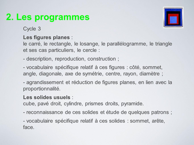 2. Les programmesCycle 3.