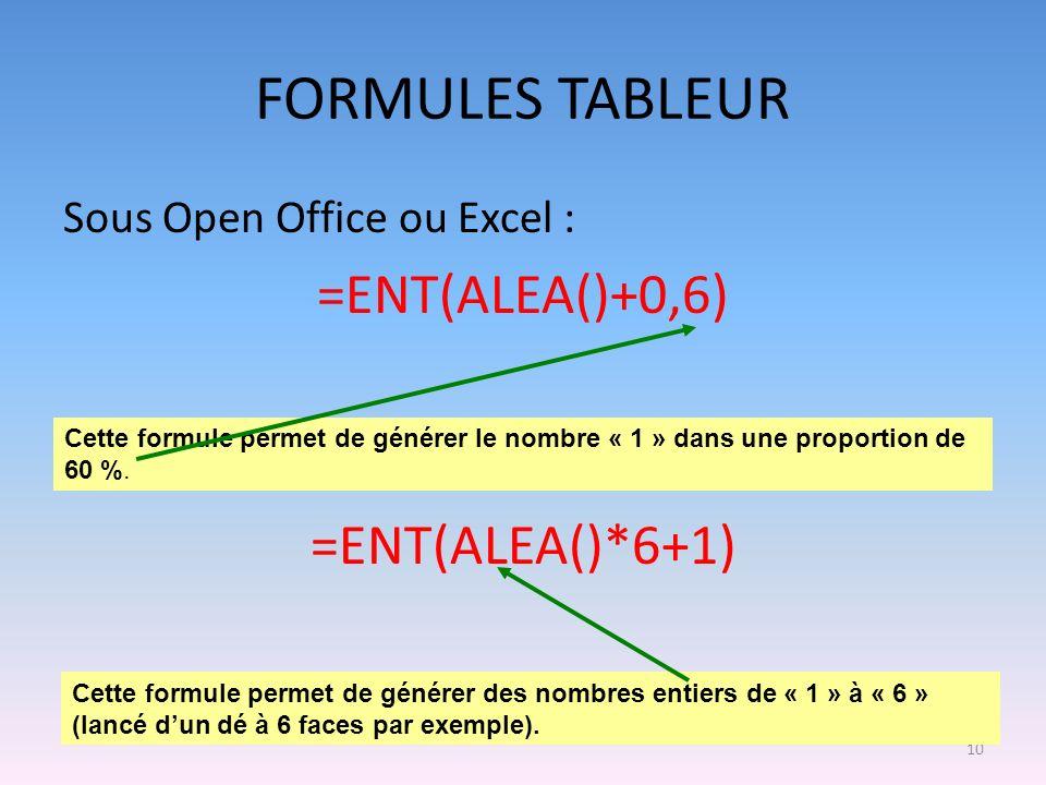 FORMULES TABLEUR =ENT(ALEA()+0,6) =ENT(ALEA()*6+1)