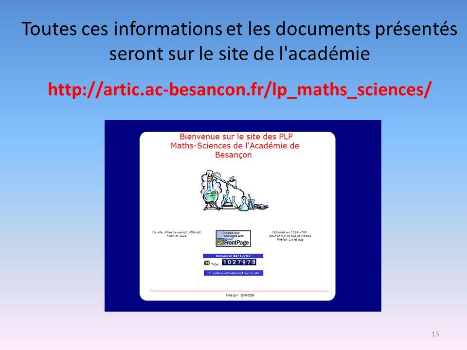 Toutes ces informations et les documents présentés seront sur le site de l académie