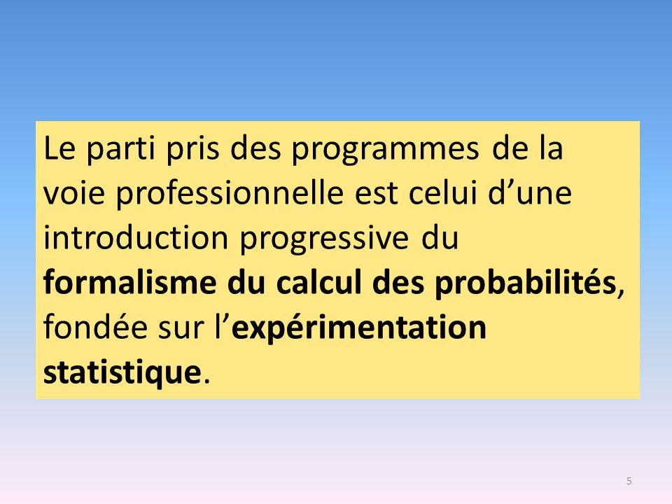 Le parti pris des programmes de la voie professionnelle est celui d'une introduction progressive du formalisme du calcul des probabilités, fondée sur l'expérimentation statistique.