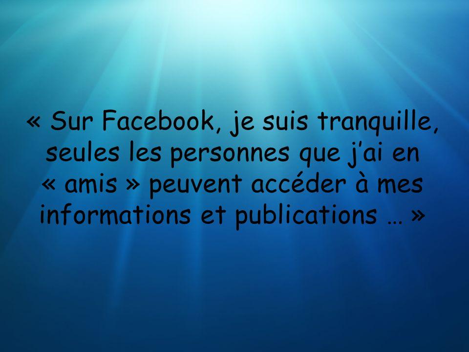 « Sur Facebook, je suis tranquille, seules les personnes que j'ai en « amis » peuvent accéder à mes informations et publications … »