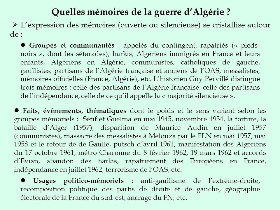 Quelles mémoires de la guerre d'Algérie