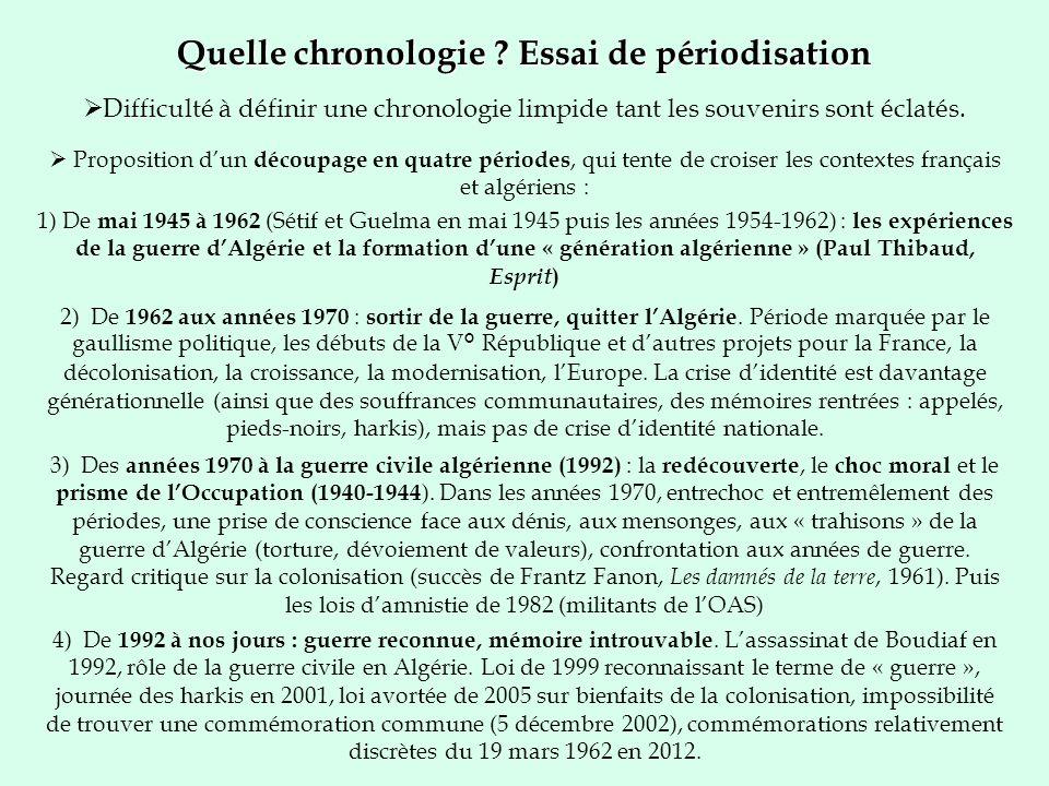 Quelle chronologie Essai de périodisation