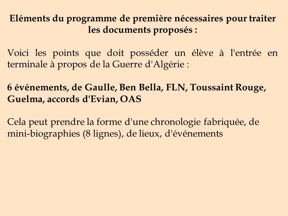 Eléments du programme de première nécessaires pour traiter les documents proposés :