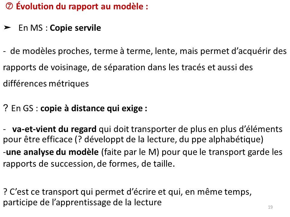  Évolution du rapport au modèle :