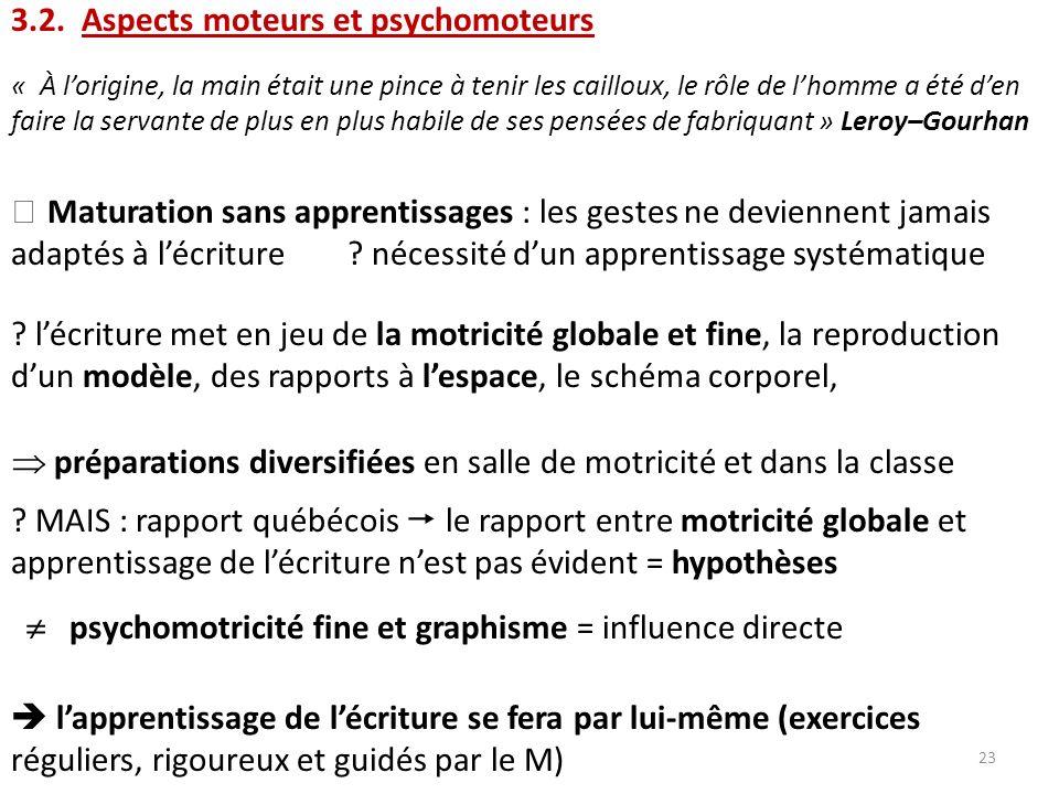 3.2. Aspects moteurs et psychomoteurs