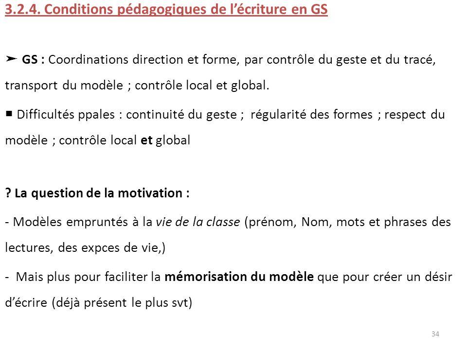 3.2.4. Conditions pédagogiques de l'écriture en GS