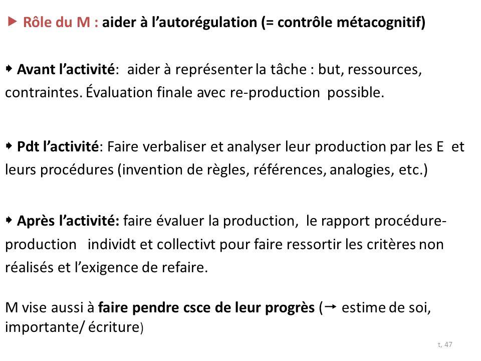  Rôle du M : aider à l'autorégulation (= contrôle métacognitif)