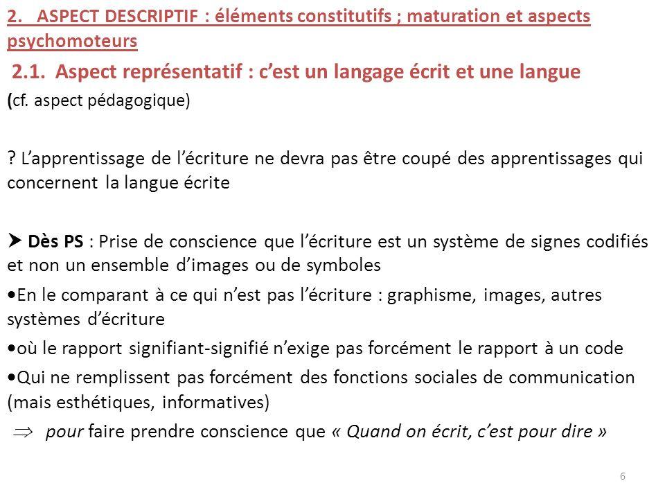 2.1. Aspect représentatif : c'est un langage écrit et une langue